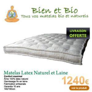 matelas latex naturel et laine